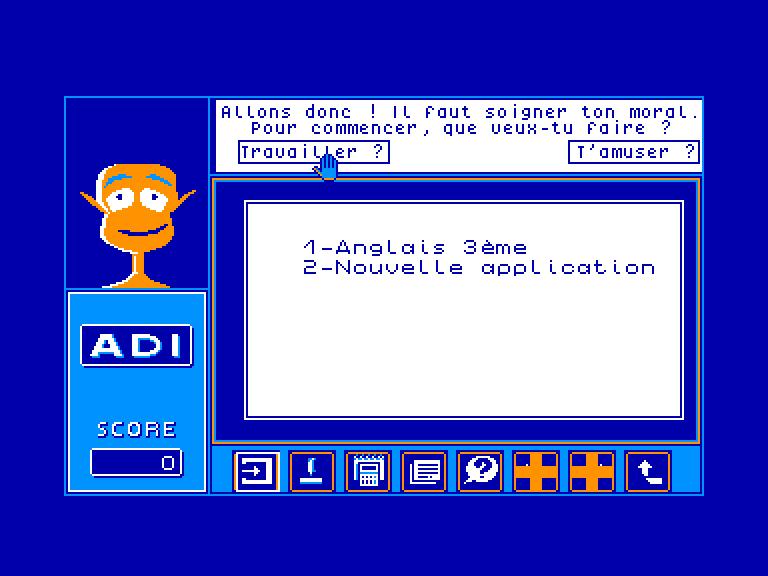 screenshot of the Amstrad CPC game ADI Anglais 3eme