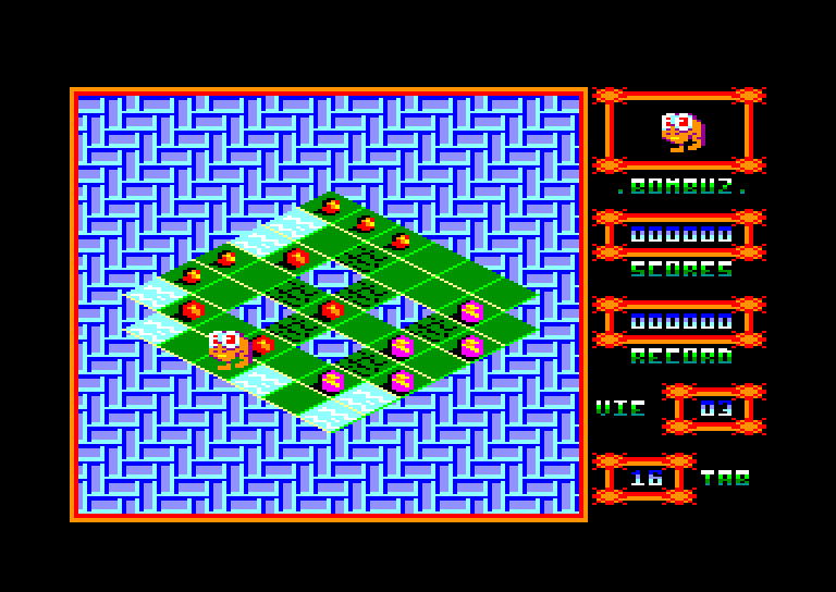 screenshot of the Amstrad CPC game Bombuz 3d