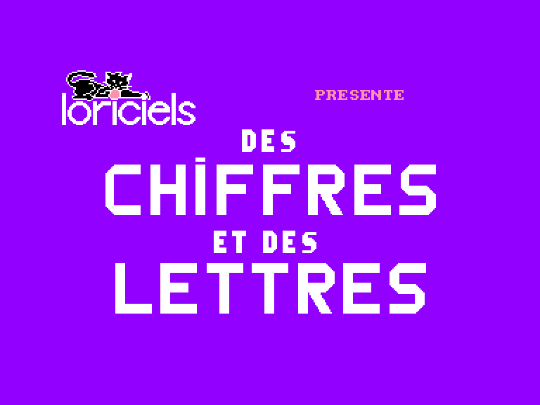 screenshot of the Amstrad CPC game Chiffres et des lettres (des)