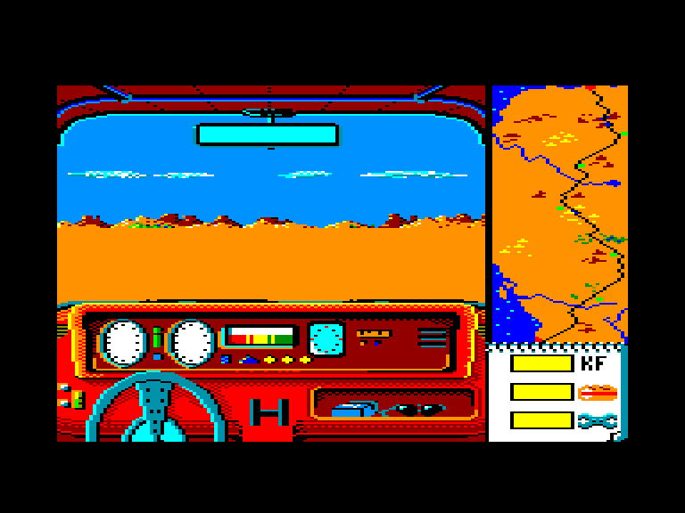 screenshot of the Amstrad CPC game Dakar 4x4