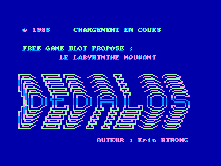 screenshot of the Amstrad CPC game Dedalos