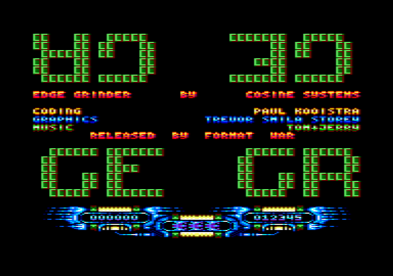 menu screen of the Amstrad CPC game Edge Grinder