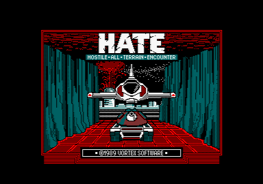loading screen of the Amstrad CPC game HATE by Vortex (1989)