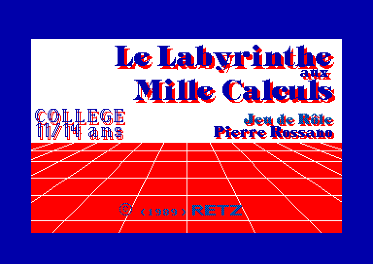 screenshot of the Amstrad CPC game Labyrinthe aux Mille Calculs (le)