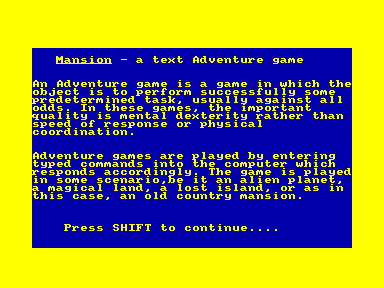 screenshot of the Amstrad CPC game Mansion (la) / knight ghosts