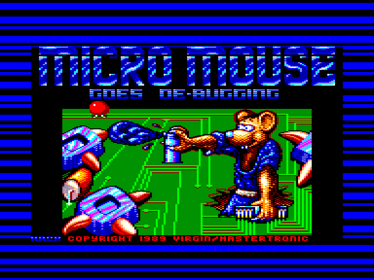 screenshot of the Amstrad CPC game Micro mouse goes de-bugging