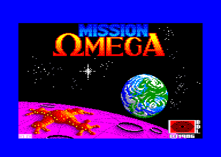loading screen of the Amstrad CPC game Mission OMEGA Mindgames (1986)