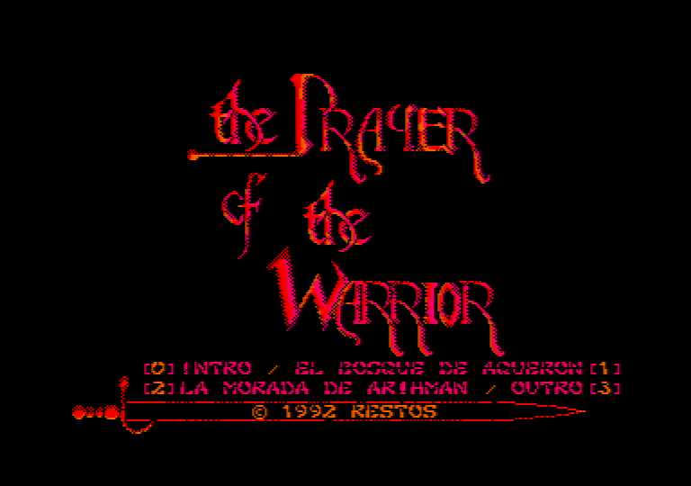 menu screenshot of the Amstrad CPC game the prayer of the warrior
