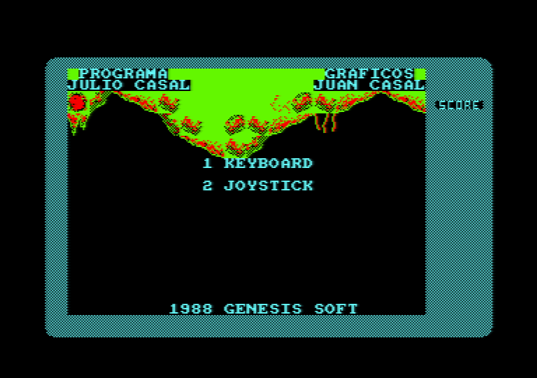 menu screen of the Amstrad CPC game Punk Star