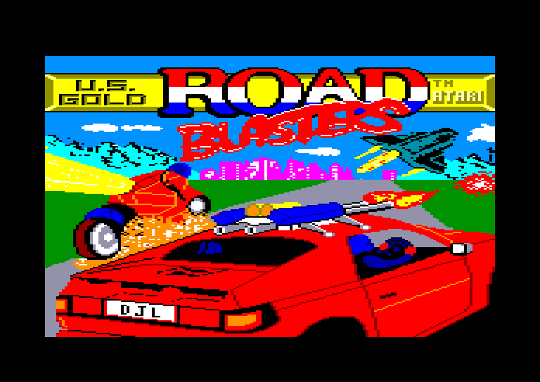screenshot of the Amstrad CPC game Road blasters