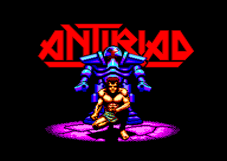 loading screen of the Amstrad CPC game Sacred armor of Antiriad