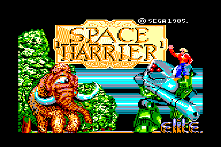 screenshot of the Amstrad CPC game Space Harrier