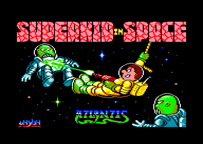 screenshot of the Amstrad CPC game Superkid in space