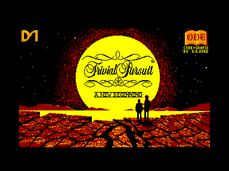 screenshot of the Amstrad CPC game Trivial Pursuit - a New Beginning