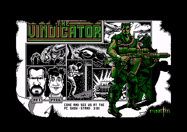 loading screen of the Amstrad CPC game The Vindicator (Green Beret 2)