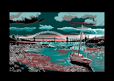 Boat and bridge by Jill Lawson, mode 1 picture on an Amstrad CPC