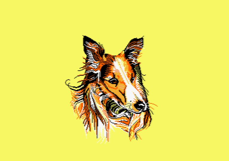Dog by Jill Lawson, mode 1 picture on an Amstrad CPC
