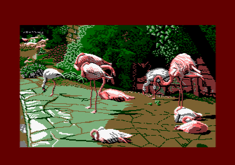 Flamingo by Jill Lawson, mode 1 picture on an Amstrad CPC