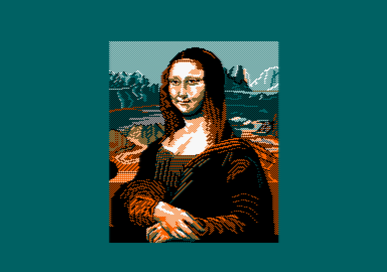Mona Lisa by Jill Lawson, mode 1 picture on an Amstrad CPC