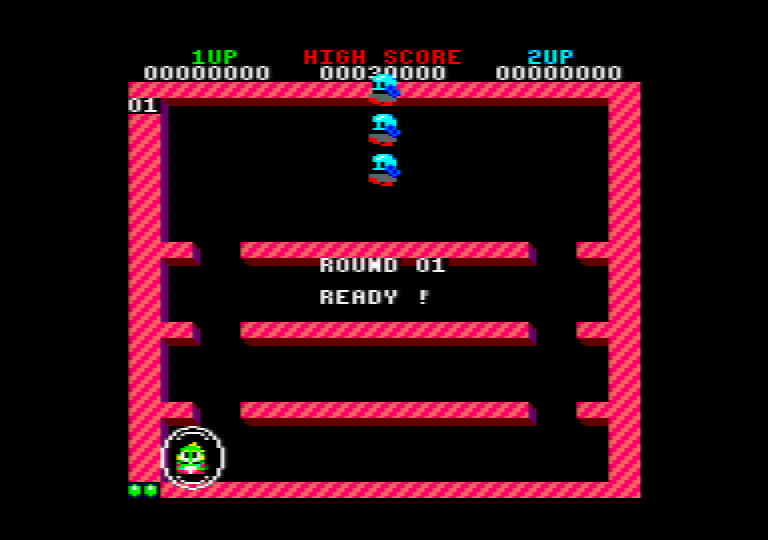 gameplay screenshot of the amstrad CPC game Bubble bobble 4 CPC