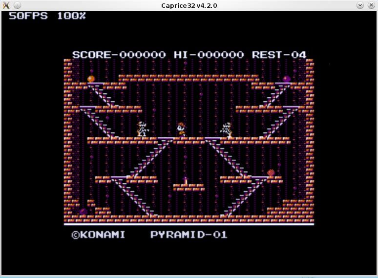 game screen of the Kings's Valley remake for Amstrad CPC