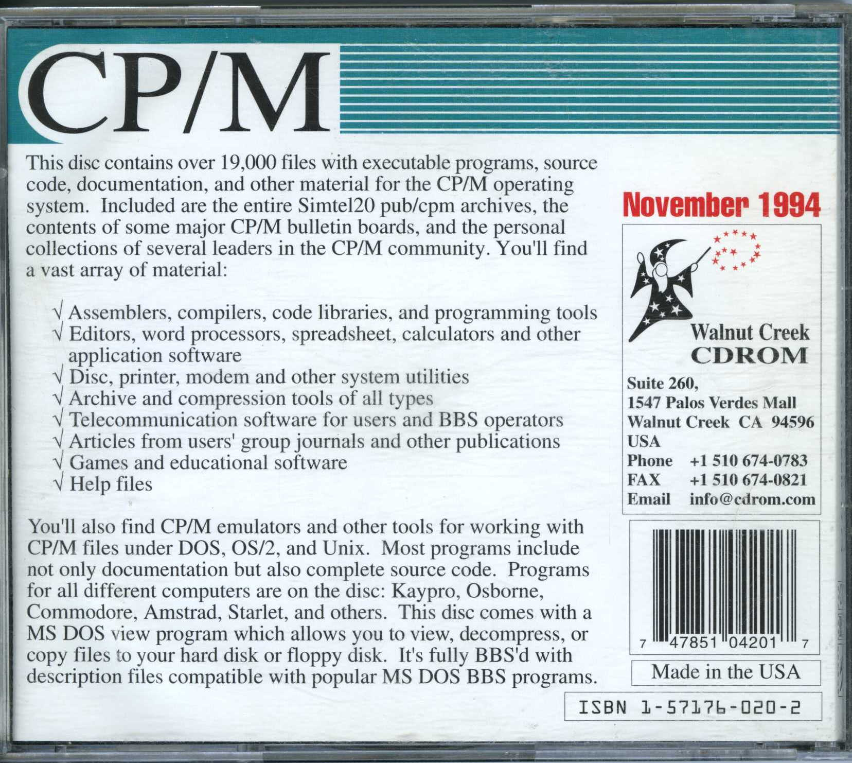 back cover of the Walnut Creek CPM CD-ROM