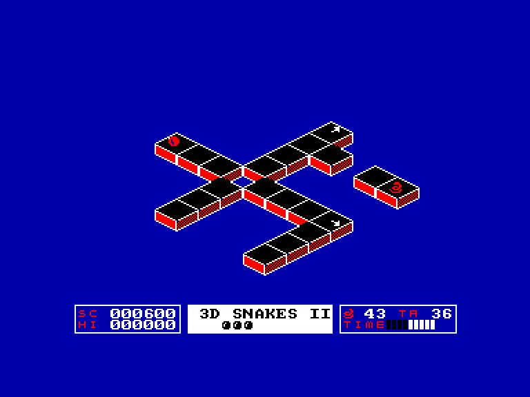 screenshot of the Amstrad CPC game 3D Snakes II by GameBase CPC