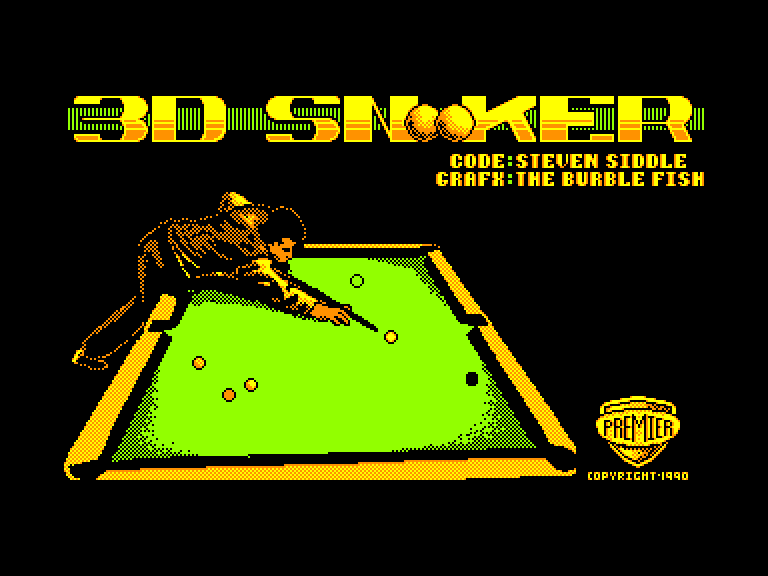 screenshot of the Amstrad CPC game 3D Snooker by GameBase CPC