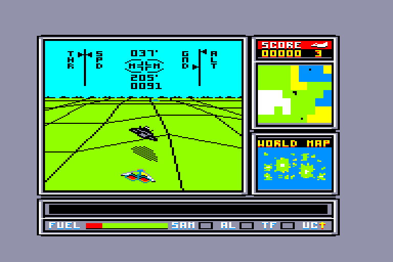 screenshot of the Amstrad CPC game ATF - Advanced Tactical Fighter by GameBase CPC