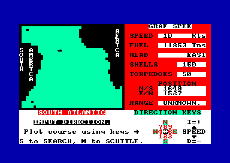 screenshot of the Amstrad CPC game Admiral Graf Spee by GameBase CPC