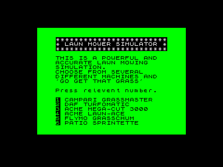 screenshot of the Amstrad CPC game Advanced Lawnmowing Simulator by GameBase CPC