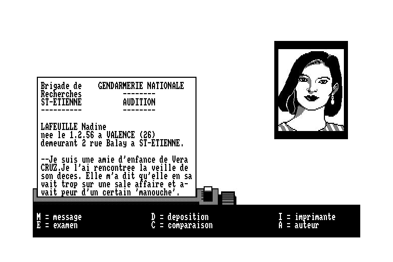 screenshot of the Amstrad CPC game Affaire Vera Cruz (l') by GameBase CPC