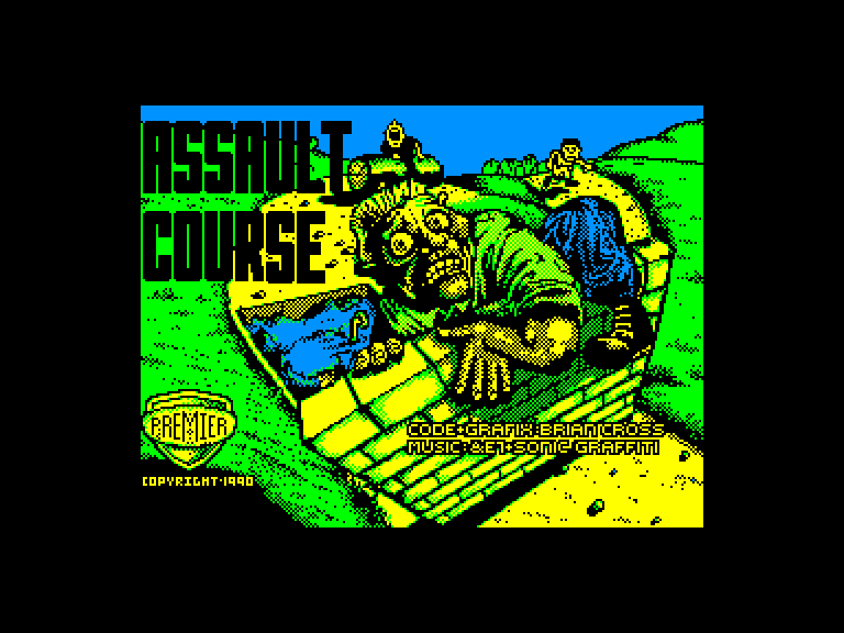 screenshot of the Amstrad CPC game Assault course by GameBase CPC