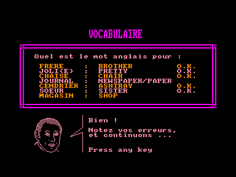 screenshot of the Amstrad CPC game Assimil - Le Nouvel Anglais Sans Peine by GameBase CPC