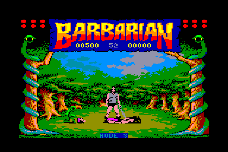 screen of the Barbarian amstrad cpc game