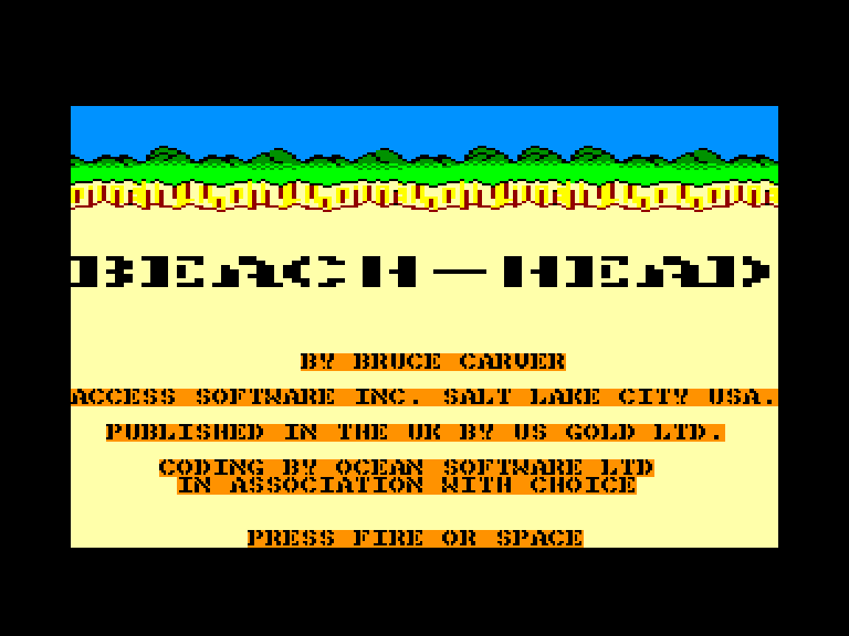 screenshot of the Amstrad CPC game Beach-Head by GameBase CPC