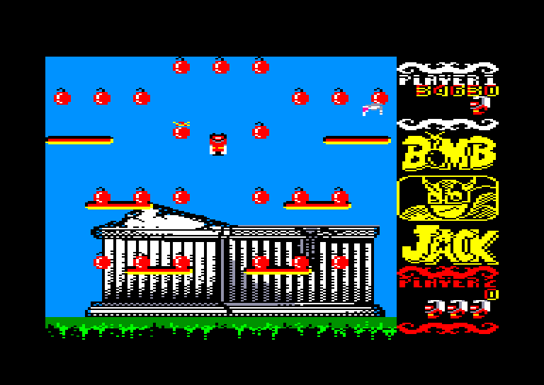 screenshot of the Amstrad CPC game Bomb Jack by GameBase CPC