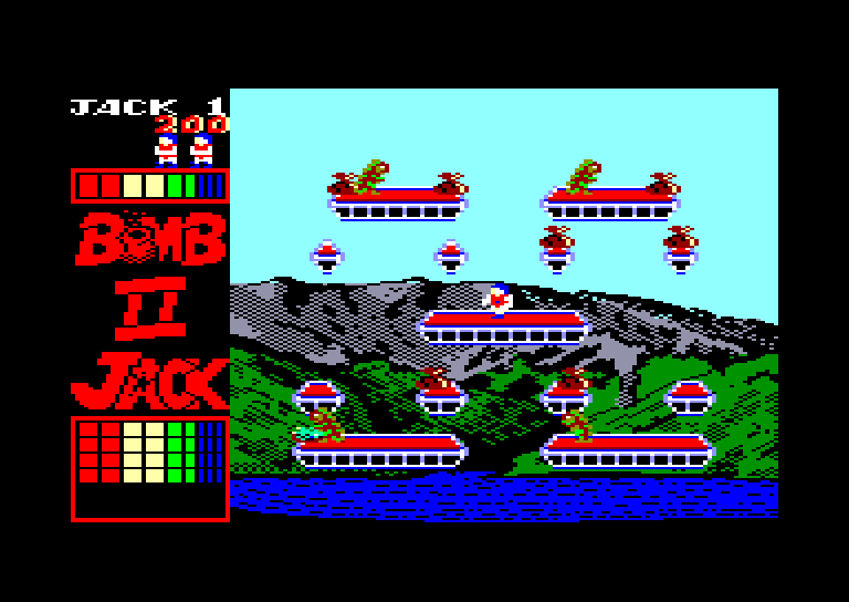 screenshot of the Amstrad CPC game Bomb Jack II by GameBase CPC