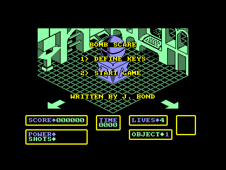 screenshot of the Amstrad CPC game Bomb Scare by GameBase CPC