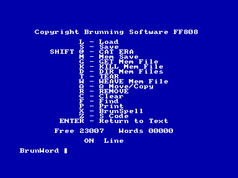 screenshot of the Amstrad CPC game Brunword 6128 by GameBase CPC