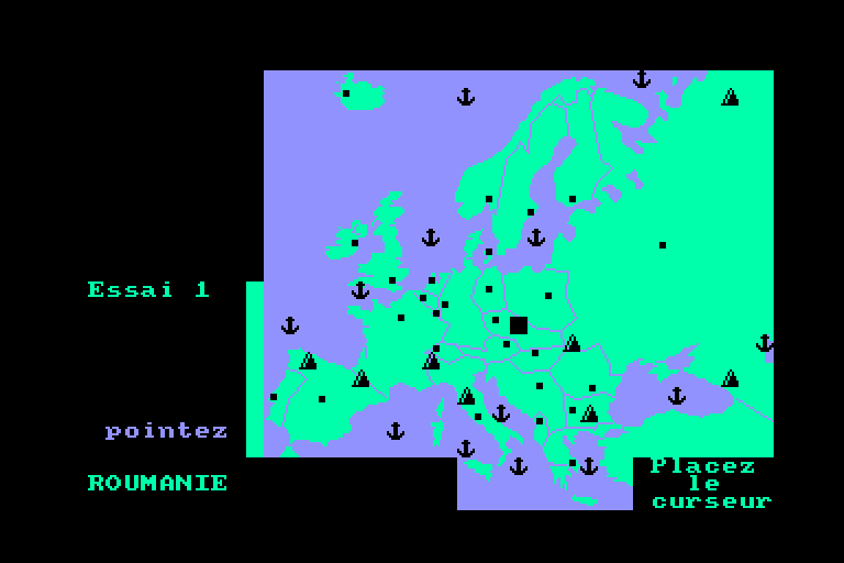 screenshot of the Amstrad CPC game Carte d'Europe by GameBase CPC