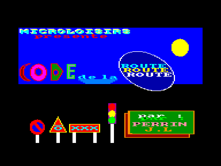 screenshot of the Amstrad CPC game Code de la route by GameBase CPC