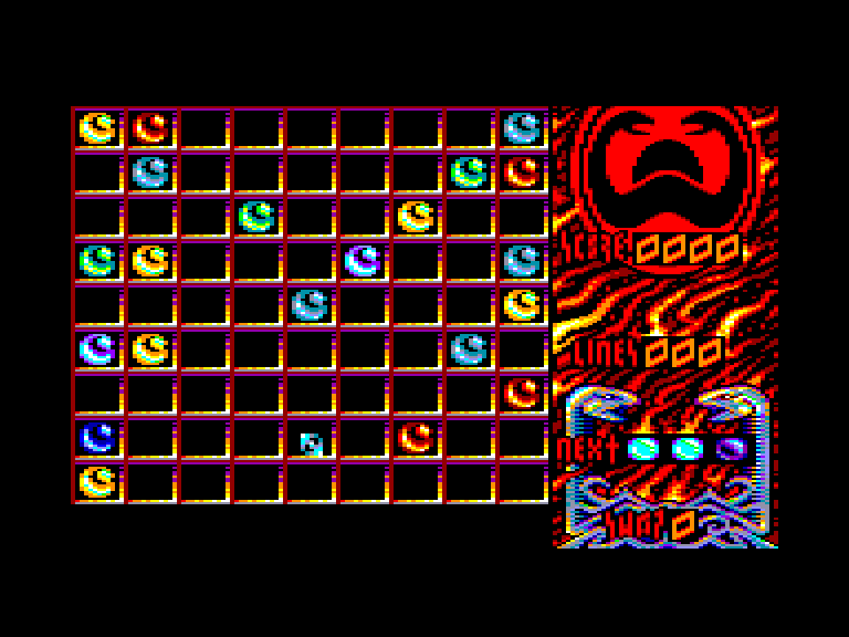 screenshot of the Amstrad CPC game Color Lines by GameBase CPC