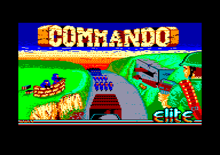 screenshot of the Amstrad CPC game Commando by GameBase CPC