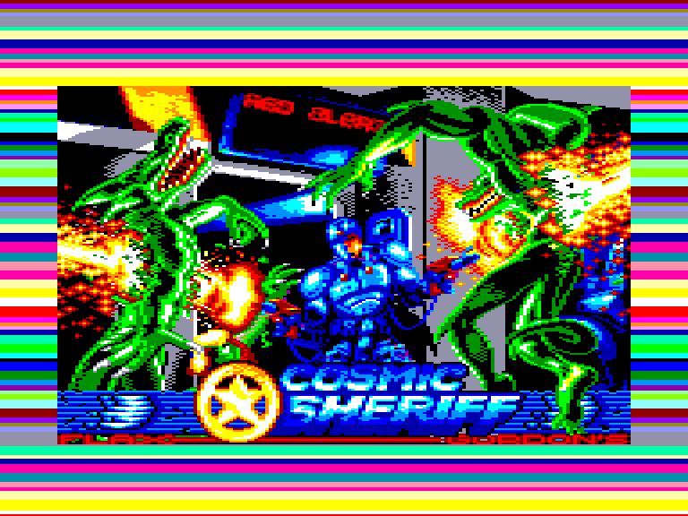screenshot of the Amstrad CPC game Cosmic sheriff by GameBase CPC