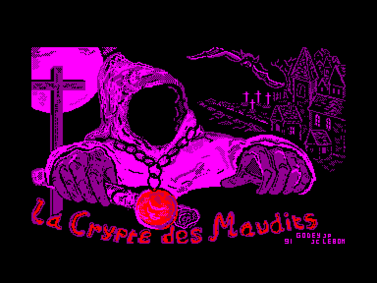 screenshot of the Amstrad CPC game Crypte des maudits (la) by GameBase CPC