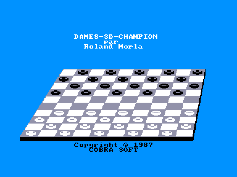 screenshot of the Amstrad CPC game Dames 3D Champion by GameBase CPC