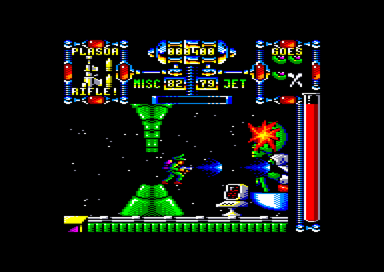 screenshot of the Amstrad CPC game Dan Dare III - The Escape by GameBase CPC
