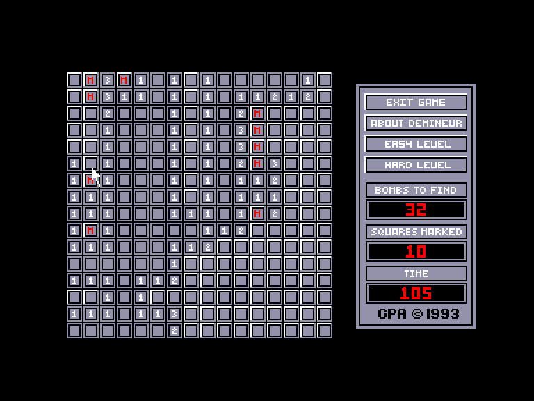 screenshot of the Amstrad CPC game Démineur by GameBase CPC