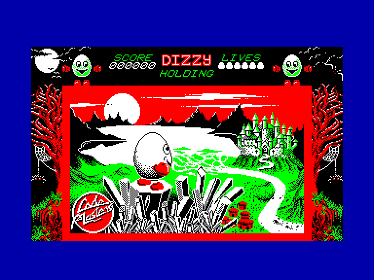 screenshot of the Amstrad CPC game Dizzy - The Ultimate Cartoon Adventure by GameBase CPC